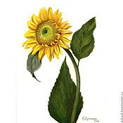 Картины и панно ручной работы. Ярмарка Мастеров - ручная работа Картина акварелью Подсолнушек  желтый зеленый. Handmade.