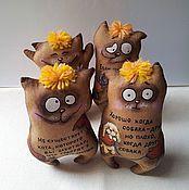 Куклы и игрушки ручной работы. Ярмарка Мастеров - ручная работа Кофейные котики с афоризмами-1. Handmade.