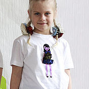 Одежда ручной работы. Ярмарка Мастеров - ручная работа Футболка для девочки (детская футболка с куклой). Family look.. Handmade.