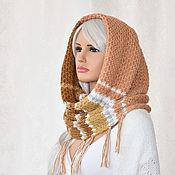 Аксессуары handmade. Livemaster - original item Boho style Snood scarf with tassels Brown, beige, grey, white. Handmade.