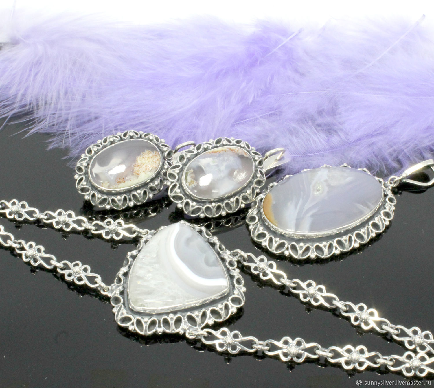 Asafoetida jewelry set with agates made of 925 silver (VIDEO), Jewelry Sets, Yerevan,  Фото №1
