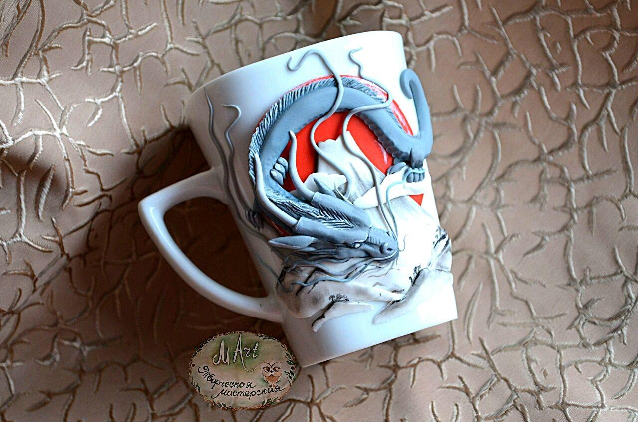 Кружка с драконом из полимерной глины. Япония, Кружки, Абакан, Фото №1