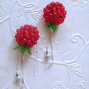 Украшения handmade. Livemaster - original item earrings broach beaded raspberry red green. Handmade.