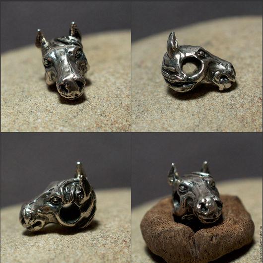 """Для украшений ручной работы. Ярмарка Мастеров - ручная работа. Купить Бусина """"Лошадь"""". Handmade. Серебряный, бусина, пандора, шарм"""