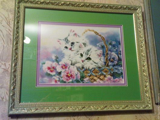 Животные ручной работы. Ярмарка Мастеров - ручная работа. Купить котята в корзинке. Handmade. Ярко-зелёный, вышивка, картина в подарок