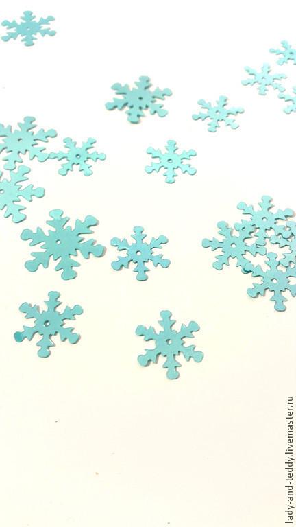 """Другие виды рукоделия ручной работы. Ярмарка Мастеров - ручная работа. Купить Пайетки 10 шт.  """"Снежинка"""" голубой (2 размера). Handmade."""