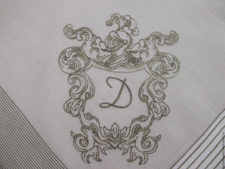 Носовые платочки ручной работы. Ярмарка Мастеров - ручная работа. Купить Носовой платок мужской с вышивкой (вензель3). Handmade. комбинированный