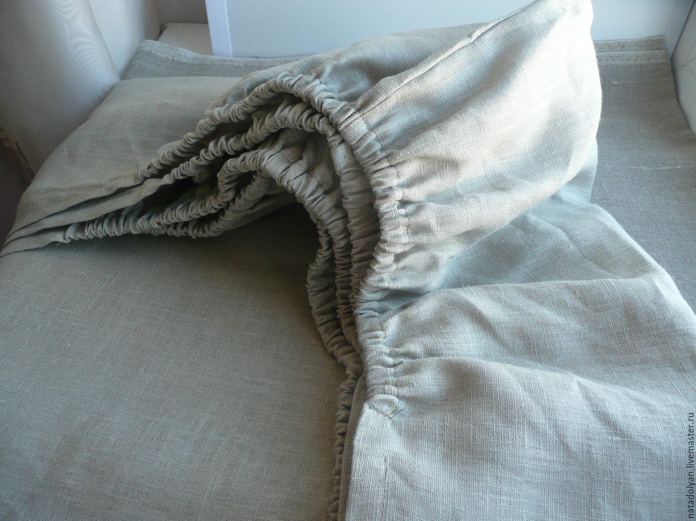 Bed sheet elastic linen,double,Euro,, Sheets, Ivanovo,  Фото №1