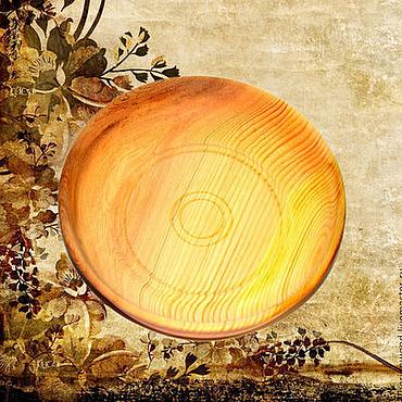 Посуда ручной работы. Ярмарка Мастеров - ручная работа Кедровая тарелка 25см, Блюдо из сибирского кедра - ручная работа #T11. Handmade.