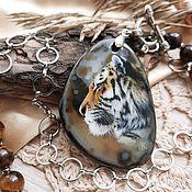 Украшения handmade. Livemaster - original item Tiger Pendant miniature oil painting. Handmade.