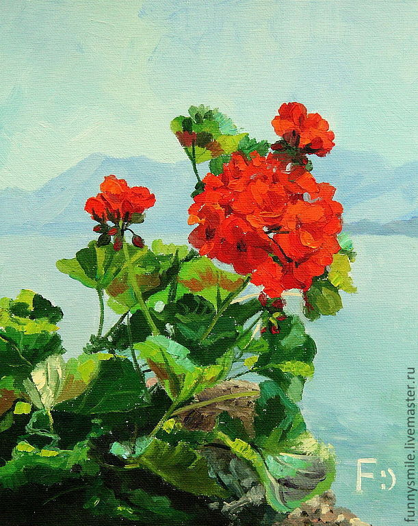 Oil painting on canvas. Mountain geranium, Pictures, Moscow,  Фото №1