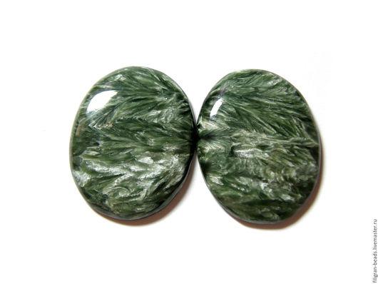 Для украшений ручной работы. Ярмарка Мастеров - ручная работа. Купить Серафинит (пара) (90756). Handmade. Зеленый, серафинит
