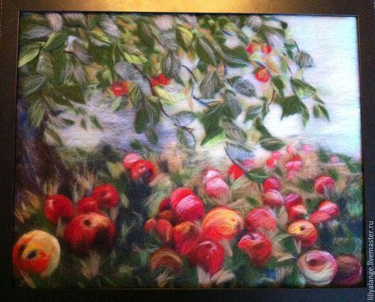 """Пейзаж ручной работы. Ярмарка Мастеров - ручная работа. Купить картина из шерсти  """"Яблочный спас"""". Handmade. Разноцветный, яблоки, пейзаж"""