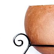 Вазоны садовые ручной работы. Ярмарка Мастеров - ручная работа Кашпо Шар на металлической подставке, круглый горшок из бетона. Handmade.