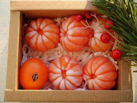 """Мыло ручной работы. Ярмарка Мастеров - ручная работа. Купить Новогодний набор мыла """"Ящик с мандаринами"""". Handmade. мыльный подарок"""