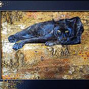 Картины и панно ручной работы. Ярмарка Мастеров - ручная работа Картина на бересте Пантера (под впечатлением Г. Климта) 40х50. Handmade.