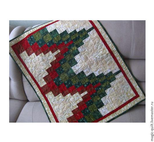 """Текстиль, ковры ручной работы. Ярмарка Мастеров - ручная работа. Купить Панно """"Новогоднее"""". Handmade. Тёмно-зелёный, бежевый"""