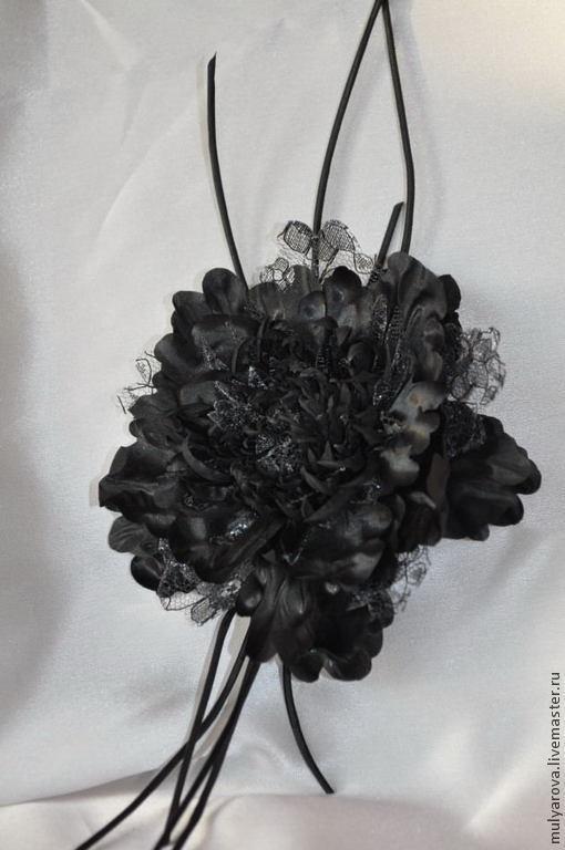 Цветы ручной работы. Ярмарка Мастеров - ручная работа. Купить Черный Пион из натурального шелка, брошь-заколка. Handmade. Черный