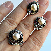 Украшения handmade. Livemaster - original item Silver set with pearls.Earrings,pendant and ring. Handmade.