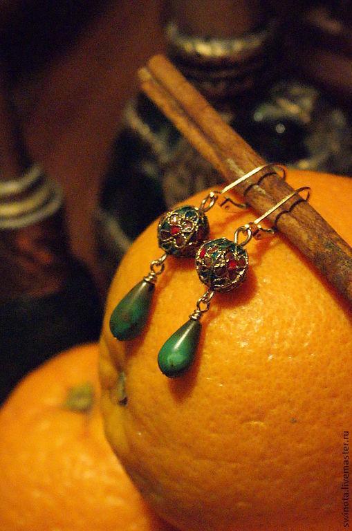 """Серьги ручной работы. Ярмарка Мастеров - ручная работа. Купить Серьги """"Эмаль и Бирюза"""". Handmade. Маленькие серьги, с натуральной бирюзой"""