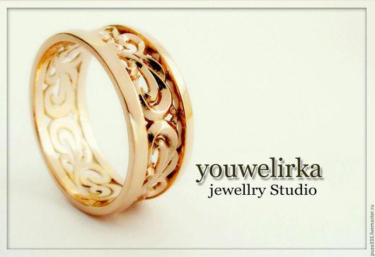 Кольца ручной работы. Ярмарка Мастеров - ручная работа. Купить Золотое кольцо с узором. Handmade. Золотое кольцо, кольцо из золота