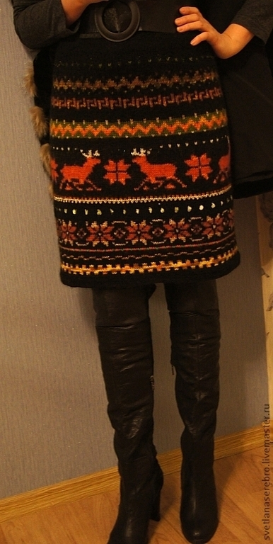 """Юбки ручной работы. Ярмарка Мастеров - ручная работа. Купить Юбка """"северные олени""""прямая. Handmade. Орнамент, юбка вязаная"""