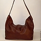 Order Bag from soft genuine leather cognac brown. Bags and accessories. Alexandra (SSbagS). Livemaster. . Sacks Фото №3