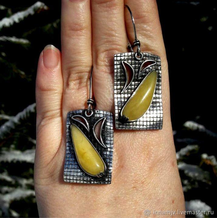 Sterling silver earrings with amber, Earrings, Nizhny Novgorod,  Фото №1