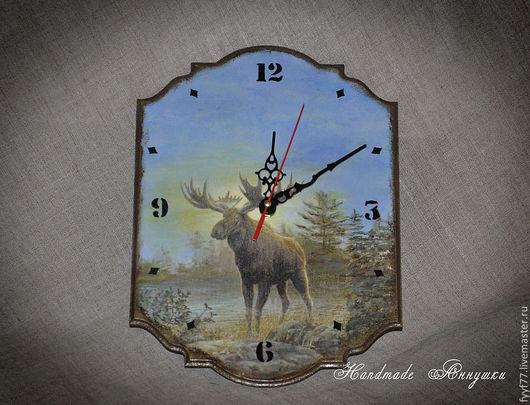 """Часы для дома ручной работы. Ярмарка Мастеров - ручная работа. Купить Часы настенные """" Лосик """". Handmade. лес"""