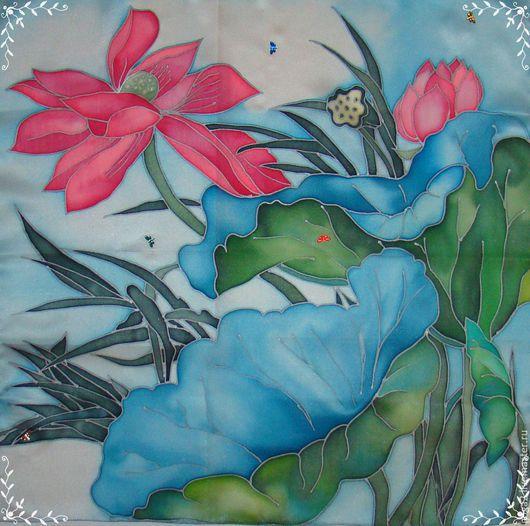 """Пейзаж ручной работы. Ярмарка Мастеров - ручная работа. Купить Панно или шейный платок """"Пруд"""" батик. Handmade. Разноцветный"""