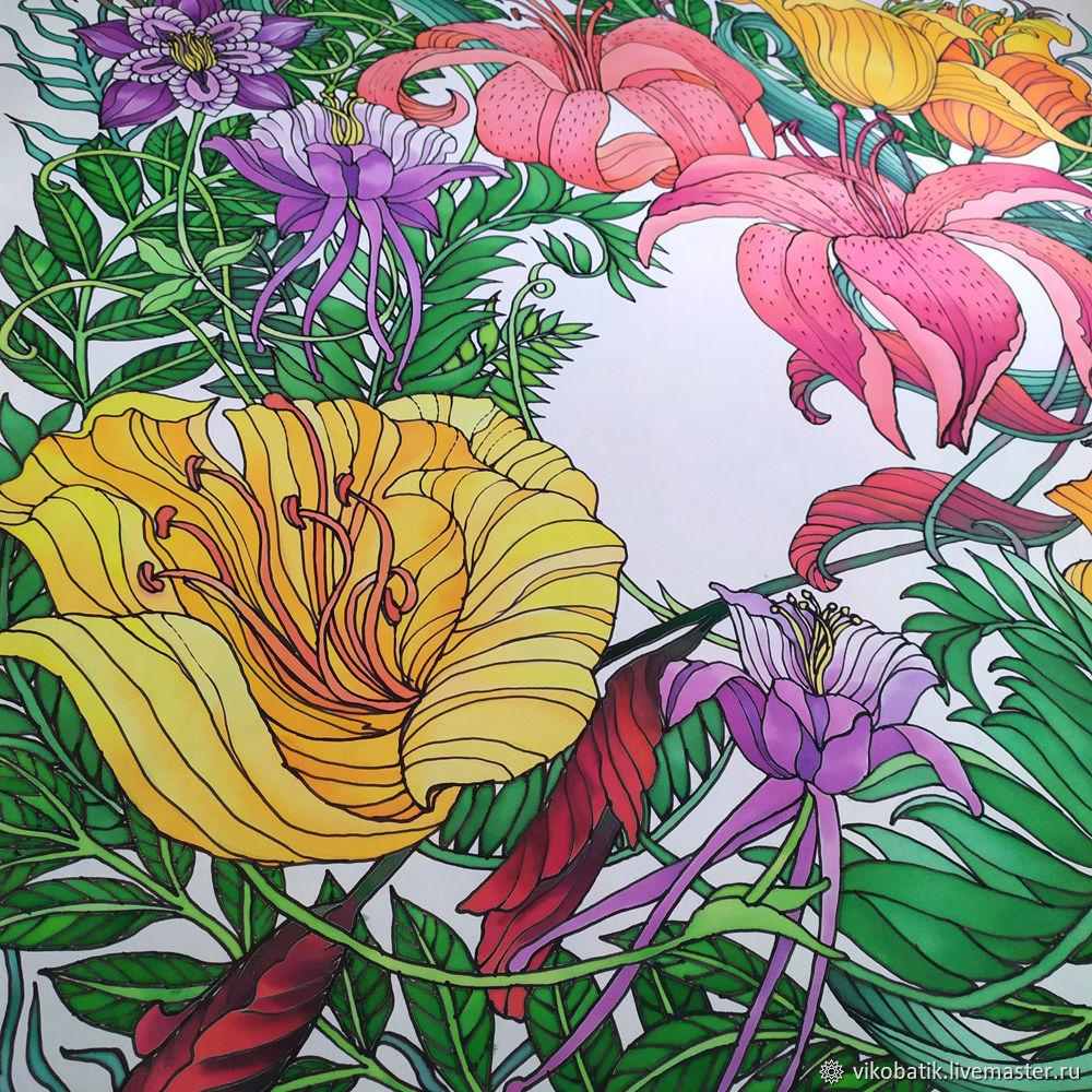 Shawls: Batik shawl 'Rainforest' silk 100%, Shawls1, Kislovodsk,  Фото №1