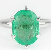 Украшения handmade. Livemaster - original item 3.70cts 14K Colombian Emerald Solitaire Engagement Ring. Handmade.