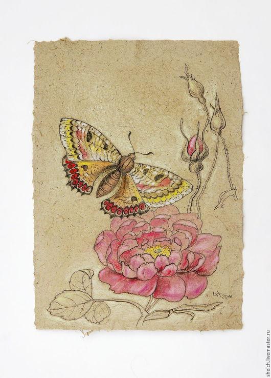 Картины цветов ручной работы. Ярмарка Мастеров - ручная работа. Купить картина Бабочка и шиповник - графика, бумага ручной работы. Handmade.