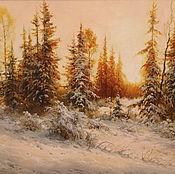 Картины и панно ручной работы. Ярмарка Мастеров - ручная работа Картина маслом, пейзаж, Зимний вечер. Handmade.