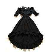 Одежда handmade. Livemaster - original item MIDI dress cotton Black Caroline. Handmade.