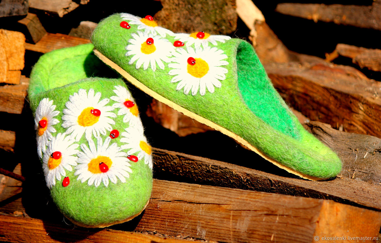 Flip-flops felted ' ladybugs', Slippers, Cheboksary,  Фото №1