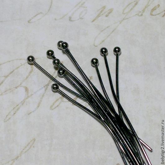 пины с шариком, 45х0,7 мм, медь, цвет gunmetal