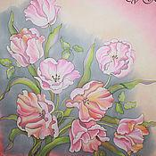 """Аксессуары ручной работы. Ярмарка Мастеров - ручная работа Батик платок """" Когда расцветают тюльпаны"""". Handmade."""