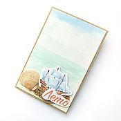 Открытки ручной работы. Ярмарка Мастеров - ручная работа Открытка ручной работы Лето с акварельным фоном и ракушкой. Handmade.
