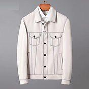Мужская одежда handmade. Livemaster - original item Men`s jacket, made of genuine calf leather, white color. Handmade.