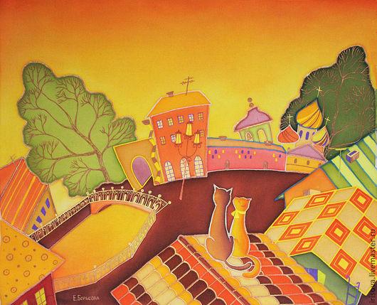"""Город ручной работы. Ярмарка Мастеров - ручная работа. Купить Картина батик """"Крыша.Рассвет.С милым рядом"""". Handmade."""