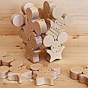 Куклы и игрушки handmade. Livemaster - original item Designer mosaic of wood. Mice-acrobats. Handmade.