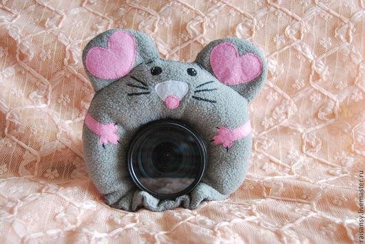 Игрушки животные, ручной работы. Ярмарка Мастеров - ручная работа. Купить Игрушка на объектив мышка. Handmade. Серый, розовый, игрушка
