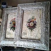 Подарки к праздникам ручной работы. Ярмарка Мастеров - ручная работа Панно парное настенное Букеты в серебре. Handmade.