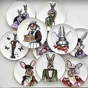 Посуда handmade. Livemaster - original item Painting of China Hares . Easter decor. Handmade.