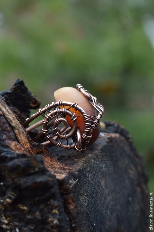 """Кольца ручной работы. Ярмарка Мастеров - ручная работа. Купить Перстень """"Медовый. Handmade. Коричневый, мед, перстень с агатом"""