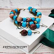 Украшения ручной работы. Ярмарка Мастеров - ручная работа Комплект украшений браслет и серьги из натурального говлита и яшмы. Handmade.