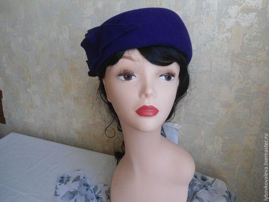 """Шляпы ручной работы. Ярмарка Мастеров - ручная работа. Купить Шляпа из фетра """" Синее небо"""". Handmade. Тёмно-синий"""