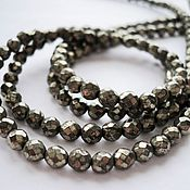 Материалы для творчества handmade. Livemaster - original item Pyrite beads faceted beads 4mm, 19cm strand. Handmade.