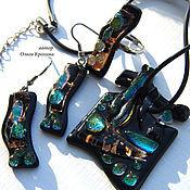 Украшения handmade. Livemaster - original item Fused glass Jewelry Set. Mystery. Stunning design, birth. Handmade.